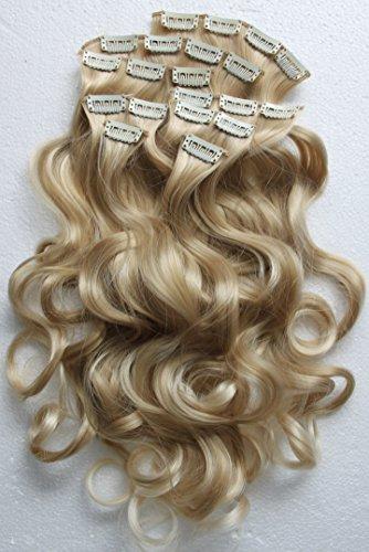 PRETTYSHOP XXL 60cm 8 teiliges SET Clip In Extensions Haarverlängerung Haarteil hitzebeständig wie Echthaar div. Farben (gewellt blond mix 25T613 - Haar-clip, Set