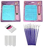 #3: Royalkart Latest Edition Nail Art Stamping Image Plate Double Kit With 15 Pcs Nail Art Brush & Nail Art Finger Tip Guide Sheet Gift For Girl Women(XY10-XY14)