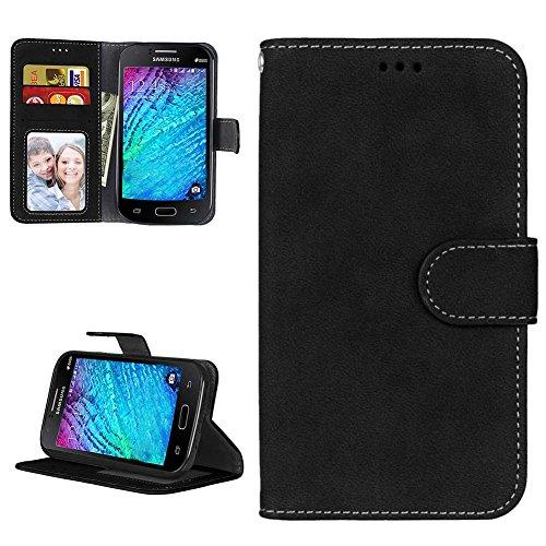 Cover Samsung I9060i Galaxy Grand Neo Plus(i9060i/i9060/i9062) Custodia Matte PU Portafoglio Protettiva Pelle Elegante Bookstyle Libro Copertura Pieghevole Case Protezione Antiurto Caso - Nero