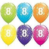 "Age 8/8th Birthday Tropical Assorted Qualatex 11"" Latex Balloons x 5"