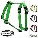 BioThane Geschirr, verstellbar, Größe L, Farbe Neon-Grün, Hundegeschirr, Führgeschirr