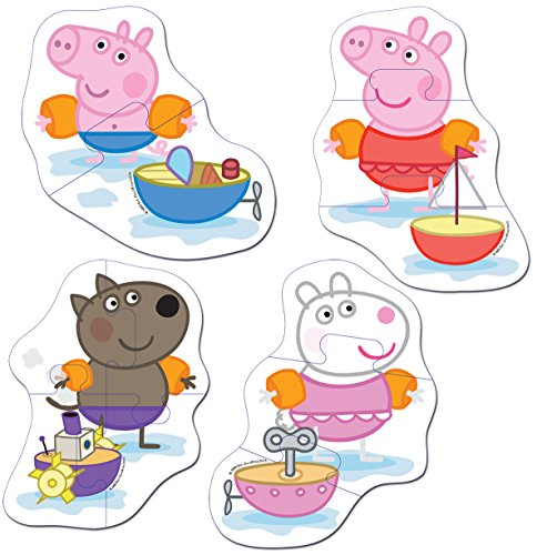 Image of Jumbo Games Peppa Pig 4-in-1 Shaped Foam Bath Time Jigsaw Puzzles