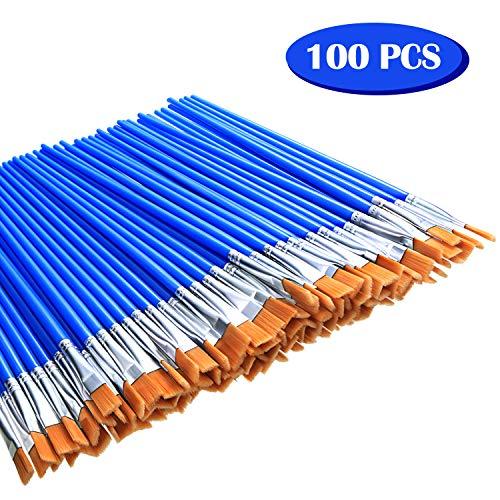 Outus 100 Stücke Kleine Flache Pinsel Art Pinsel Flache Kopf Pinsel für Schule Büro Hause Lieferungen
