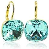 Ohrringe mit Kristallen von Swarovski® Türkis Gold Light Turquoise - NOBEL SCHMUCK
