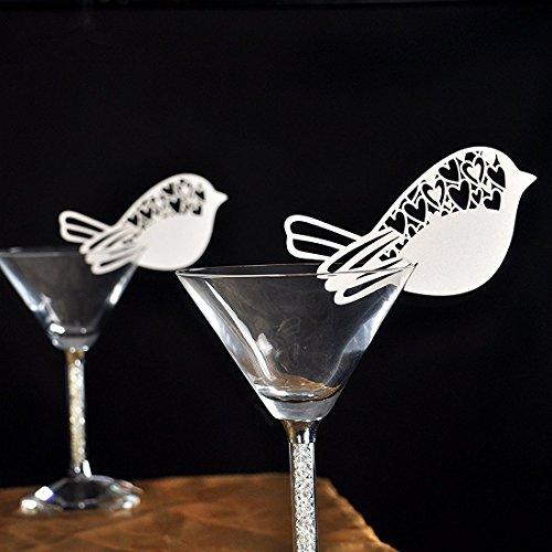er Laser Cut Weiß Schmetterling, Birdie, Schneemann, Name Ort Karte für Hochzeit Champagner / Weinglas, Party Favor Tabelle Zahl Dekoration (F 50PCS) (Name Ort Karten)