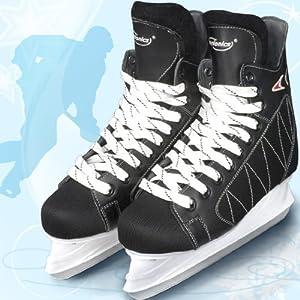 Physionics Eishockey Schlittschuhe für Erwachsene – mit flexiblem Oberflächenmaterial in Größen von 40 bis 46, für Anfänger und Fortgeschrittene, Schwarz – Eishockey-Schuhe