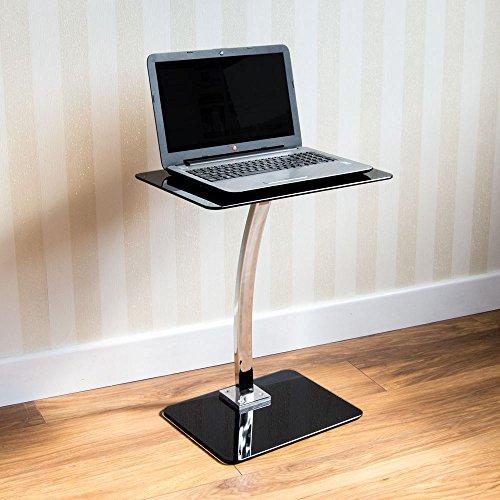 Laptop Ständer Tisch Glas Schwarz Computer Notebook Schreibtisch Tragbar