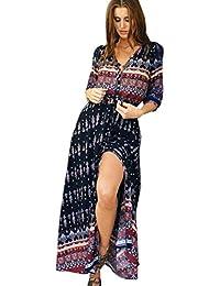 1e707615850 Longra Robe Casual Femme Fille Col V Robe de Cocktail Manches 1 2 Robe Midi  Bohême Imprimé Robe Longue Robe Vintage Robe Pull…