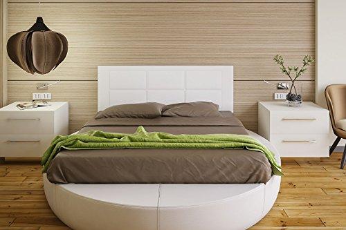 Hogar24 Es Cabecero tapizado, válido para Cama 135 y 150 cm, Blanco,...
