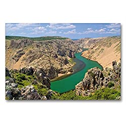 Premium Textil-Leinwand 90 x 60 cm Quer-Format Zrmanja Canyon | Wandbild, HD-Bild auf Keilrahmen, Fertigbild auf hochwertigem Vlies, Leinwanddruck von LianeM