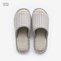fankou Slippers Women Indoor Summer Home Anti-Slip Cotton Linen Slippers Male Couples Home Floor Slippers,210 [20CM], Gray