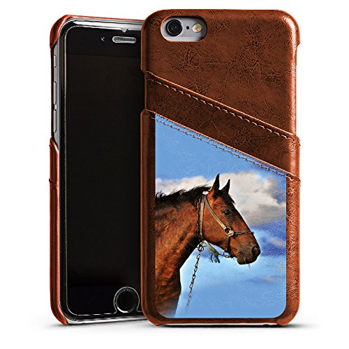 Apple iPhone 4 Housse Étui Silicone Coque Protection Cheval Étalon Jument Étui en cuir marron