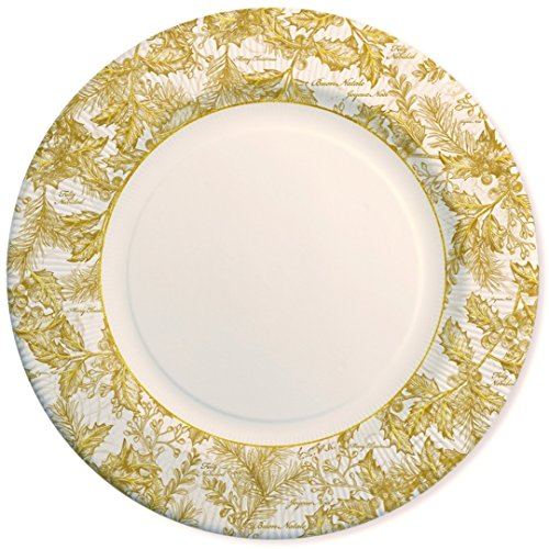 Lot 8 assiettes carton jetables Motif Golden Leaves cm.27