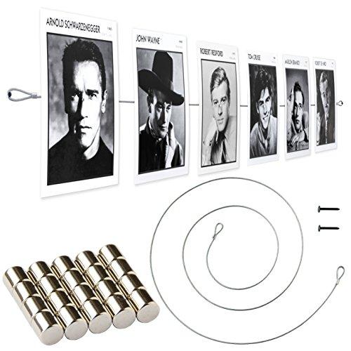 LeTOMA Fotoseil 150 cm mit 15 Extrem Starken Neodym Magneten - Praktisches 2er Set einzeln Verpackt - Bilderseil, Fotodraht, Fotomagnetseil