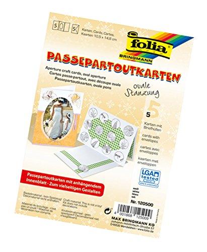 Folia 120500 - Passepartouts, mit ovaler Stanzung, ca. 10,5 x 15 cm, 5 Karten (220 g/qm) und Kuverts, weiß