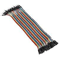 CAOLATOR 40x 20cm Female-male Jumper Wire Kabel 2.54mm 0.1 in Dupont Kabel F/F für Arduino Platine (20cm Female-male)