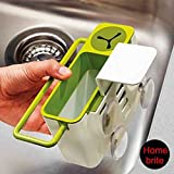 Self Draining Sink Tidy with suction cup Organizer Brush Sponge Cleaning Cloth Holder kitchen draining dishs rack Self Draining Sink Caddy With Brush Holder - Works With All Sinks - Double, Single, Bowl, Commercial, Restaurant And Utility