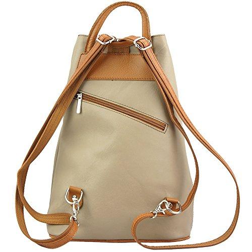 b9cba152c03fe ... Rucksack-Tasche und Schultertasche Fiorella mit vielen Taschen aus echtem  Leder aus Italien Licht taupe