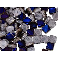 24pcs Silky Cut Beads - Czech perle di vetro schiacciate, scolpito piazze 6x6mm con due fori in diagonale, Light Violet with Strips Azuro