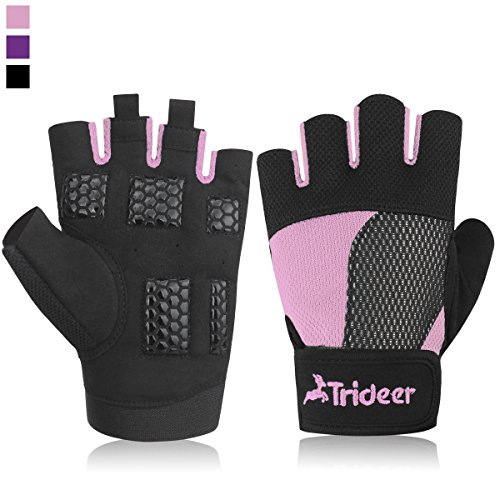 Womens-Padded-Weight-Lifting-Gym-Gloves-Multicolored-Half-Finger-Fingerless-Microfiber-Material-and-Silica-Gel-Grip-Anti-slip-Glove-with-Adjustable-Strap-for-Wrist-and-Hand-Support-TRIDEER-Workout-Tra
