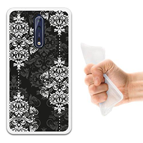 Damaskus, 8 (WoowCase Nokia 8 Hülle, Handyhülle Silikon für [ Nokia 8 ] Damaskus Luxusmuster Handytasche Handy Cover Case Schutzhülle Flexible TPU - Transparent)