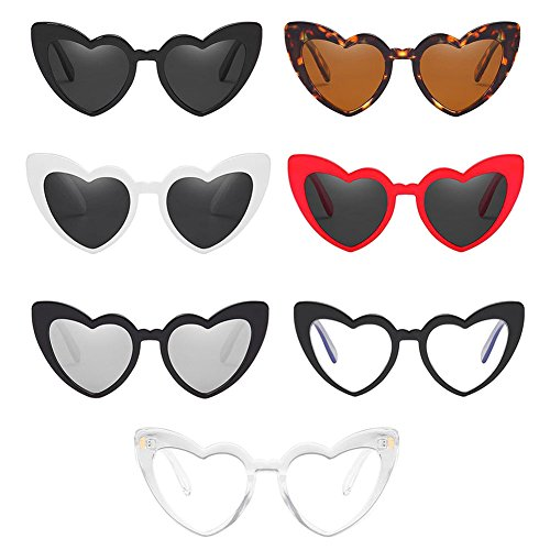 Hzjundasi Classic Cat Eye Retro Style Love Heart Shaped Sunglasses Goggle Stylish UV Protection Polarized Eyewear Glasses