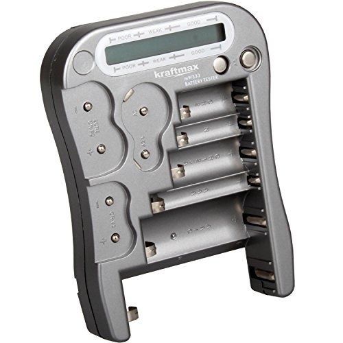 Kraftmax Batterietester Universal Batterie und Akku Testgerät mit LCD-Display - NEUESTE VERSION MW333 / LX5900 mit Knopfzellen Test