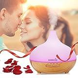EaseHold Aroma Diffuser 300ML Holzmaserung luftbefeuchter Schaltermit farbenwechselnde elektrisch Duftlampe (Holzmaserung)