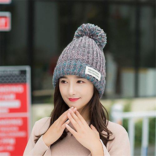 Ski Line Hut (MONEYY Hat Frau winter Student hundert dicken Han Version aus Gewirken Baotou Herbst Winter hinzufügen Flaum line-cap warme Gehörschutz Freizeitaktivitäten hat, H)