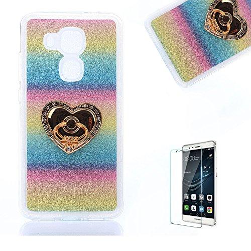 Für Huawei Nova Plus/G9 Plus Ultra Dünn Silikon Tasche,Für Huawei Nova Plus/G9 Plus Bling Glitter Schutz Hülle mit Liebe Herzen Ring Halter,Funyye Luxus [Herzen Ring Holder Gestreifter Regenbogen Farbe] Sparkles (Woman Invisible Kostüm)