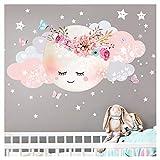 Little Deco Wandsticker Kinderzimmer Mädchen Mond & Wolken I L - 77 x 38 cm (BxH) I Wandtattoo Babyzimmer selbstklebend Wandaufkleber Sterne Blumen Kinder DL243