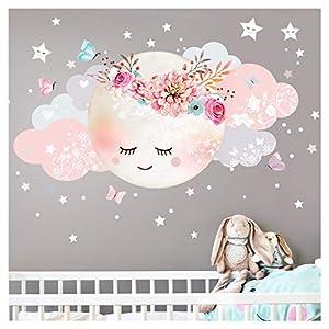 Little Deco Wandsticker Kinderzimmer Mädchen Mond & Wolken I M – 51 x 26 cm (BxH) I Wandtattoo Babyzimmer selbstklebend Wandaufkleber Sterne Blumen Kinder DL243