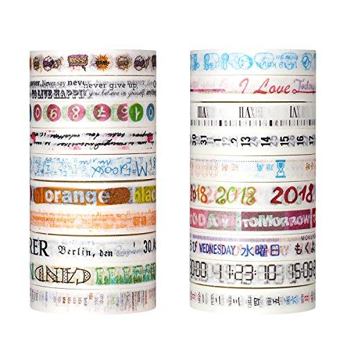 molshine Washi Masking Tape, Sticky Papier Klebeband zum Basteln, mit Deko-Objekt Verschönerung, Handwerk, Geschenkverpackungen, Scrapbook Diary Assistant&Fun text