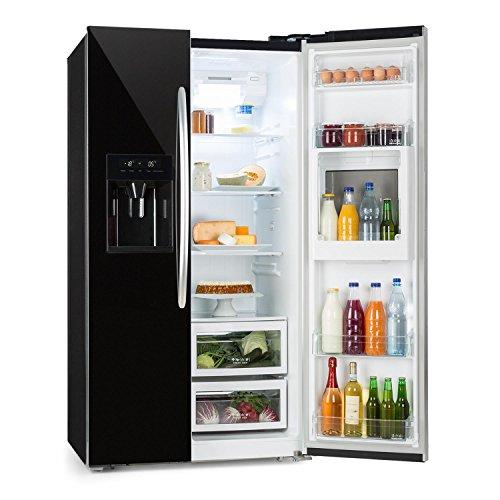 Klarstein Grand Host XXL • Side-by-Side Kühl-Gefrierkombination • Kühlschrank • stromsparende LEDs • 550 Liter Eis- und Wasserspender • 45 dB leise • Total NoFrost-Technik • schwarz