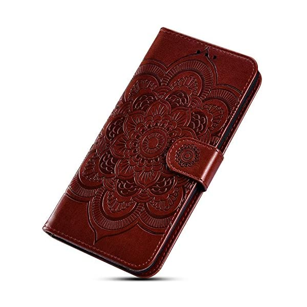 Uposao Compatible with Samsung Galaxy A50 Wallet Case Cute Mandala Flower Embossed Leather Wallet Flip Case Shockproof Protective Phone Cover with Kickstand Magnetic Card Holder,Brown Uposao Compatible Model:Samsung Galaxy A50 Package:1 x Wallet Case Cover,1 x Black Stylus Touch Pen Precision incision: Precise and Active-easily access to all ports, sensors, speakers, cameras and all Phone features.Change the volume, answer a call, charge your battery, take a picture, and listen to music without ever having to open your case 5