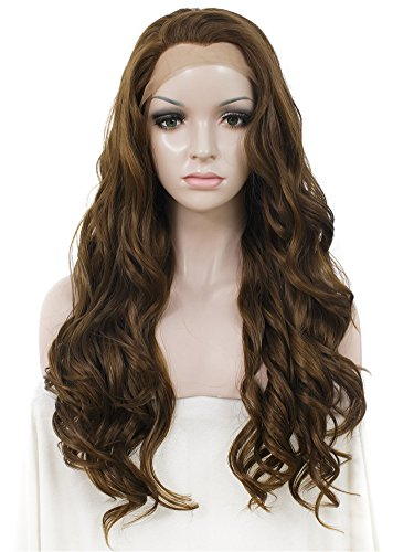 Front Perücken Hitzebeständigen Lace (ImstyleHeat Resistant Long Water Wavy Blonde highlighted Brown Color Synthetic Lace Front Wig Affordable Price by IMSTYLE)