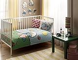 LaModaHome 4PCS Luxus Weiche farbigen Lizenzierte Baby Bettbezug Set 100% Baumwolle Blau Gelb Pink Grün Weiß Schlümpfe Gras Schmetterling Baby Bett Bettlaken