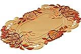 Klassische TISCHDECKE 22x37 cm oval Herbst Gelb BLÄTTER orange rot üppig gestickt Polyester (Deckchen 22x37 cm oval)