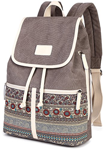 DCCN Damen Rucksack Canvas PU Schultertasche Umhängetasche Schulrucksack Laptop Casual Backpack Reise Rucksack Daypack Damen