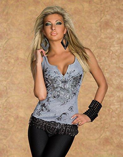 Sexy Damen ärmellos Sommer Top mit Stretch mit Reißverschluss Größe UK 8/10, 10/12–Eu 36/38, 38/40 Grau