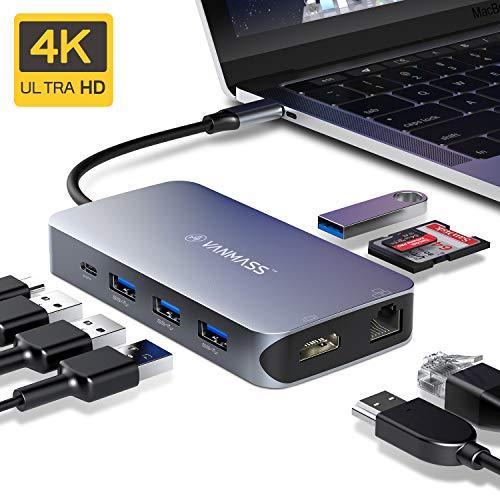 VANMASS USB C Hub 9 in 1 mit 4 VR Chips 90W PD Anschluss 4K HDMI Port USB Type C Adapter 4 USB 3.0 Port SD/TF Leser QC Ethernet Port für MacBook Chromebook Sumsung und mehr Type-C Geräte (Spacegrau)