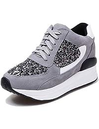 5c607dc5066b2 Femmes Plateformes Sneakers Creepers Chaussures Hautes Plateformes De Sport  Lacets Coton Tissu Vache Daim Dames Casual
