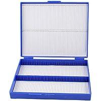 SODIAL(R) Caja De100 Portaobjetos De Microscopio De Azul Real Caja Del Rectangulo De Plastico
