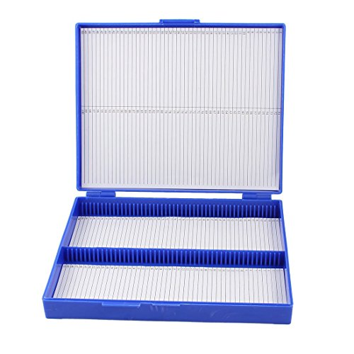 Sonline Royal Blue Plastic Rectangle Hold 100 Microslide Slide Microscope Box Test