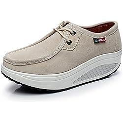 Shenn Mujer Plataforma Comodos Para Caminar Beige Ante Cuero Entrenadores Zapatos 1061 EU39