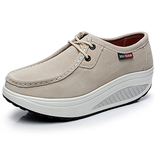 Shenn Mujer Plataforma Calzo Aptitud para Caminar Beige Ante Cuero Entrenadores Zapatos 1061 EU39