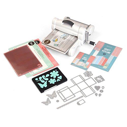 Sizzix Big Shot Plus Starter Kit, Manuelle Stanz- und Prägemaschine mit Bigz L, Thinlits und Framelits-Schablonen, Prägeschablone und Cardstock, Größe A4 (21 cm) (Inspirierende Scrapbook-papier)