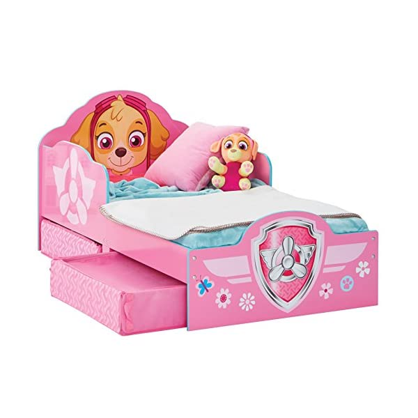 Hello Home Paw Patrol Skye Kids Toddler Bed with underbed Storage, Wood, Pink, 142x77x68 cm  Perfect for transitioning your little one from cot to first big bed The perfect size for toddlers, low to the ground with protective side guards to keep your little one safe and snug Two handy underbed, fabric storage drawers 3