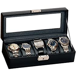 Mele and Co Brooklyn Black Lockable Leatherette Five Watch Box