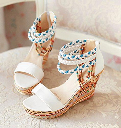 Wealsex damen sandalen keilabsatz Römersandalen Weiß